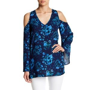 Philosophy Blue Floral Print Cold Shoulder Tunic